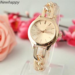 Wholesale Pink Rose Brand Dress - 2018 New Year Fashion Top Luxury Bracelet Dress Watches Cool Women's Rose Gold Brand Chain Analog Quartz Watch Reloj