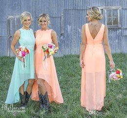 Wholesale Cheap Peach Short Dresses - 2017 New Peach Chiffon Bridesmaid Dresses Lace Crew Neck High Low Western Country Summer Cheap Plus Size Formal Party Prom Dresses