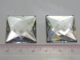 Wholesale Sew Clear Acrylic Rhinestones - 20 Clear Flatback Acrylic Big Sewing Rhinestone Square Sew On Beads 25X25mm