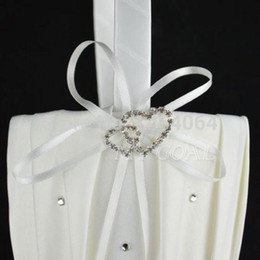 Wholesale Satin Flower Girl Baskets - 2014 New Fashion Ivory Satin Pearl Diamante Wedding Party Double Heart Flower Girl Basket Decoration Free shipping 010399