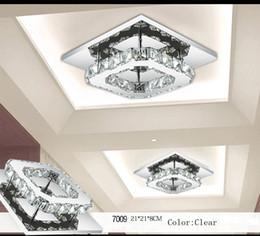 Wholesale Crystal Art Deco Ceiling Lights - 8W Crystal Ceiling Light Flush Mount K9 Crystal Chancelier European AC110V-240V Living Room Lamp Lighting Fixtures Aisle Lights