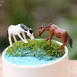 Wholesale Horse Ornaments - 20pcs lot artificial mini horse Ornament fairy garden miniatures gnome moss terrarium decor resin crafts bonsai home decor for DIY Zakka