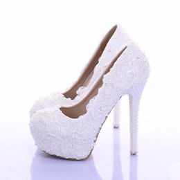 Wholesale Custom Bridesmaid Shoes - Elegant White Lace Wedding Shoes 2016 Custom Made Bridal Dress Shoes Real Leather Prom Party Pumps Bridesmaid Shoes Plus Size