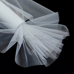 Wholesale Organza Fabric 29cm - Wholesale-25M x 29CM White Roll Soft Sheer DIY Organza Fabric Wedding Party Chair Sash Bows Swag Decoration