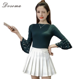 girl sweaters buttons Promo Codes - Wholesale- Spring Summer Women pearl Knitted Sweater Solid Beads Trumpet Three Quarter Sleeves Girls Sweater Pullover Knitted tops tee