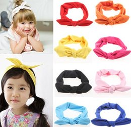 Wholesale Bunny Ears Hair Band - Hot Baby Hair Band Babies Lovely Bow Solid Hair Warp European Infant Bunny Ear Hairband 10 Color kiki Mother And Daughter Hairbands I4256