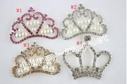 Wholesale Rhinestone Buttons Crown - 10pcs lot Pearl crown DIY Hair Garment Accessories Clear Crystal Rhinestone,Acrylic Rhinestone Buttons for Embellishmen DIY1103