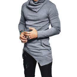 Хип-хоп длинные футболки онлайн-Мужчины ярусная футболка дизайнер кучи воротник с длинным рукавом хип-хоп твердые футболки мужские нерегулярные топы tee