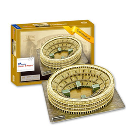 Wholesale hot education - Hot World famous buildings Jigsaw Model 3D Puzzle Roman Colosseum DIY Xmas Gift Toys for childrens day Learning Education