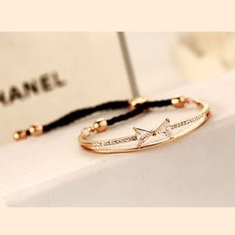 Wholesale 14k Rose Gold Filled - Rope Bow Bracelets Rose Plated Luxury Alloy Adjustable Bracelet Bangle For Women Fashion Korea Accessories Jewelry 2015 New