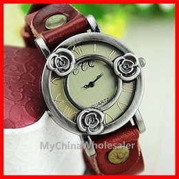 Wholesale Vintage Brass Buckle - High Quality Vintage Watches Women Genuine Leather Vine Watch, Leather Band Wristwatches For Xmas Gift jewelry Analog Bronze Casual Watches