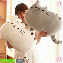 Wholesale kawaii cushion - 40*35cm Plush Toys Stuffed Animal Doll Toy Pusheen Cat For Kid Kawaii Cute Cushion Brinquedos Free Shipping