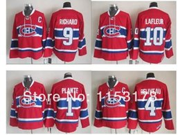 Wholesale Montreal Jerseys - 2015 Hockey Montreal Canadiens #4 Jean Beliveau #1 Jacques Plante #9 Maurice Richard 10 Guy Lafleur Red CCM Stitched Jersey