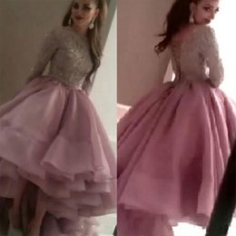 Wholesale Beautiful Evening Prom Dresses - Myriam Fares Beautiful Lace Prom Dresses Beaded Long Sleeves Ball Gown Evening Dresses Luxurious Prom Gowns