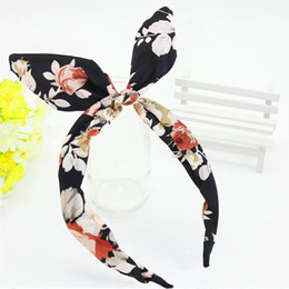 Wholesale Cheap Ribbon Band - Wholesale-Hot New Wide Ribbon Bowknot Dot Print Flower Headband Hair bands Wire Bendy Bows Rabbit Bunny Ear Hair Accessories Cheap Z1