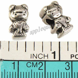 Wholesale Double Slider - Vintage Silver Large Hole Beads Pandora Charms Bangles DIY Human Girls Double Loose Slider Metal Wholesales Jewelry Findings New 13mm 100pcs
