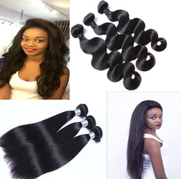 Wholesale Black Bundle - 9A Great Quality Human Hair Weave Body Wave & Straight 3 or 4 Bundles Lot Cheap Brazilian Hair Peruvian Malaysian Indian Virgin Hair Wefts
