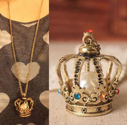 Wholesale Large Crown Necklace - Cue Women Vintage Rhinestone Imitation Pearl Bead Large Crown Fashion Pendant Long Chain Necklace For Sale