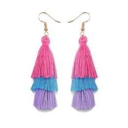 Wholesale Threaded Earrings Wholesale - Multilayer Cotton Thread Tassel Drop Earrings for Women Fashion Statement Jewelry Bohemian Ethnic Style Long Dangle Earring