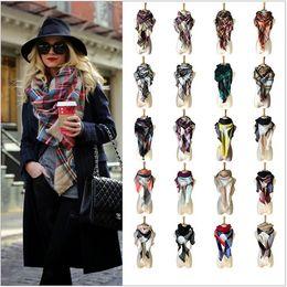Wholesale Wholesale Cashmere Wraps - 35color winter tartan plaid scarf cashmere Grid Tassel Wrap 140*140*220cm oversize neckerchief Fashion Cape Lattice blanket for women girll