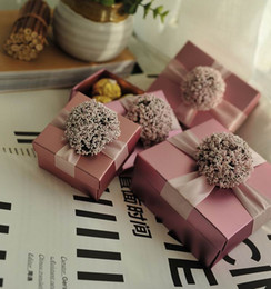 Wholesale Boxes Favors Baby Shower - Wedding Favors Gifts Boxes With Ribbon Flower Candy Chocolate Boxes Paper Boxes Baby Shower Giftbox 3 colors
