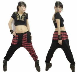 Wholesale Harem Jazz Sport Pants - New Fashion Harem Hip Hop Dance Pants Sweatpants Jazz Stage Performance Costumes Female Plaid Patchwork Sports Trousers