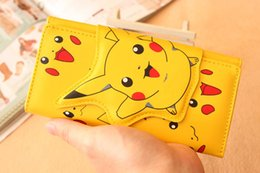 Wholesale Cute Wallets For Girls - Kids Pikachu Wallet Cute Girls Boys Wallet 3D Pikachu Bag Children Wallet Gifts For Holidays Christmas