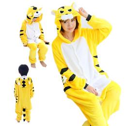 Tigre amarelo Kigurumi Pijamas Animal Ternos Cosplay Traje de Halloween Adulto e crianças Vestuário Macacões Dos Desenhos Animados Unisex Animal Pijamas de Fornecedores de traje tigger