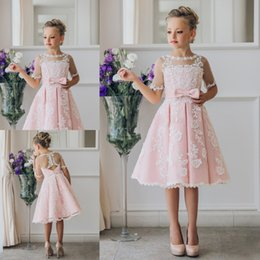 Wholesale Scoop Wedding Dresses - Pretty Scoop Neck Half Sleeve Flower Girl Dresses Custom Made Button Back Lace Knee-length Girls Pageant Dresses Kids Birthday Party Dresses