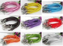 Wholesale Wholesale Rope Cord - Hot ! 100pcs Mixed Color Twist Leather Cord Rope Bracelets Bangle Fashion 16CM   17CM   18CM  19CM   21CM