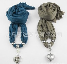 Wholesale Wholesale Cross Pendant Scarves - 2013 new scarf jewelry wholesale , new pitting Heart Pendants , multicolor mixed WY100 500p