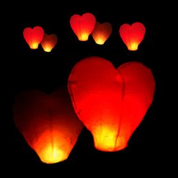 Wholesale Sky Lanterns For Wedding Decorations - Hot 10Pcs Red Heart shape Sky Lanterns Chinese globos Wish paper lanterns wedding air Balloons for party decorations