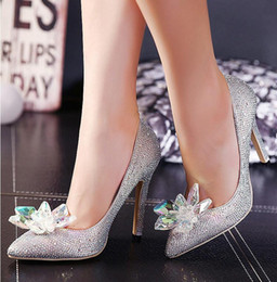Wholesale Shining Crystal High Heels - Sexy Shining 2016 silver Wedding Accessories Bridal Wedding Shoes Pumps High Heel Pointed Toe Crystal Rhinestone Shoes NGX15