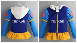 Wholesale wholesale wool jackets - winter girl wool coat with hood snow white princess costume girl frozen jacket hoodies thicken hoodie coat outerwear jacket free shipping