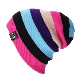 Wholesale Adult Ski Camps - Unisex Trendy Caps Acrylic Fibres Stripe Splicing Knitted Men And Women Hats For Outdoor Ski Camping Warm Beanie Colorful Popular 9lz B