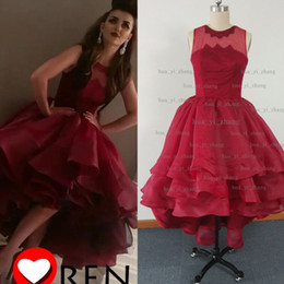 Wholesale Sweetheart High Low Prom Dresses - Real Image 2015 Prom Dresses Sheer Crew Neckline Organza Tiers Ruffle High Front and Low Back Evening Dresses dhyz 01