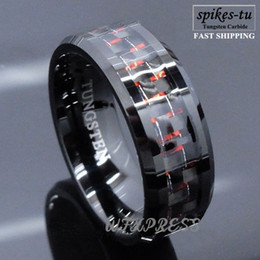 Wholesale carbon fiber ring wedding band - Wholesale-Men's Tungsten Ring with Carbon Fiber 8mm Black and red Wedding Band men Free Shipping