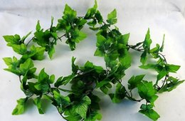 Wholesale Silk Grape Vines Garland - 10pcs 6.8feet Wired Ivy Garland Grape leaf Silk Artificial Vine Greenery For Wedding Home Office
