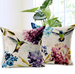 Wholesale Bird Throw Pillows - bird flower cushion cover hummingbird throw pillow case 45cm square cotton linen funda cojines nature almofadas
