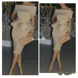 Vestito da promenade nudo di mini applique online-Cocktail Champagne Nude stain Dubai Abiti da festa economici Arabic Women Off The Shoulder Abito corto da promenade Abiti mediorientali