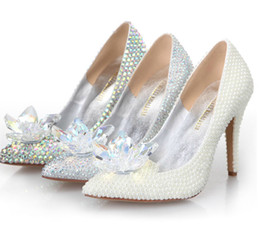 Wholesale Ivory Bling Heels - Cinderella Crystal Shoes High Heeled Women Stunning Glasses Slipper Bling Silver Rhinestone Bridal Wedding Shoes Prom Pumps