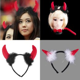 Wholesale Large Size Fancy Dress Costumes - Cute Red OX Horn Sets Bow Tie 3Pcs Tail Party Ox horn Fancy Dress Costume For Christmas Halloween Carnivals Large Small Size