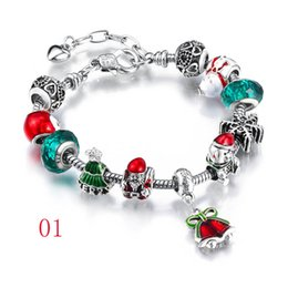 Wholesale Glass Strands - Santa Claus big hole glass crystal European Charm bracelet bracelet suitable for style