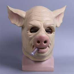 Wholesale Props Pig - Unisex Funny Masks Adult Full Heae Latex of Pig with a Cigar Helmet Halloween Party Mask Props
