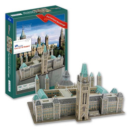Wholesale famous world - Top World famous buildings Jigsaw Model 3D Puzzle Canada Capitol DIY Xmas Gift Toys for childrens day Learning Education