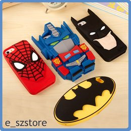 Wholesale Iphone 3d Cases Superheroes - 3D Transformers superhero Spiderman Batman Badge Silicone Case Cover for iPhone 6 6 plus 5 5s cool cure child funny Protective Shell