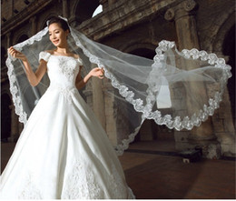 Wholesale 1t ivory veil - One Layer Lace 2.5M Bridal Veils Chapel Length Net Wedding Veils Elegant 1T Bridal Accessories Long Wedding Dress Veil