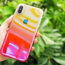 Wholesale Plastic Mirror Material - For iPhone X Blue-ray Mirror Plating Gradient Color Slim Plastic Material Protective Transparent Shockproof Cover Case For iPhone 8 7 Plus