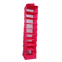 Wholesale Closet For Shoes - Fashion Hanging Closet 9 Layers Foldable Storage Bag for Clothes Accessories Scarves 9 Tiers Candy Color Hanging Storage Shelf