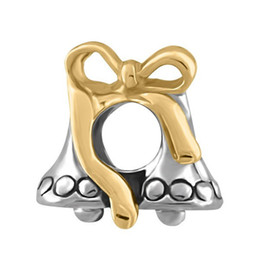 Wholesale pandora silver bells - Happy Christmas 2 Tones Plating Gold Bow and Silver Bell European Bead Charm For Pandora DIY Bracelet